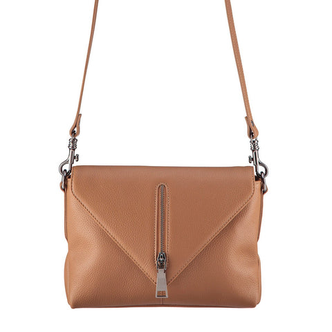 STATUS ANXIETY LEATHER EXILE SHOULDER BAG TAN FREE WALLET