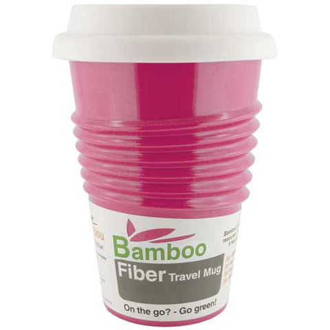 Bamboo Fibre Coffee Travel Mug Pink