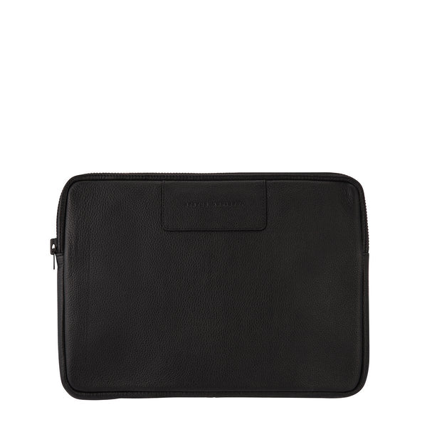 STATUS ANXIETY BEFORE I LEAVE LEATHER LAPTOP CASE BLACK