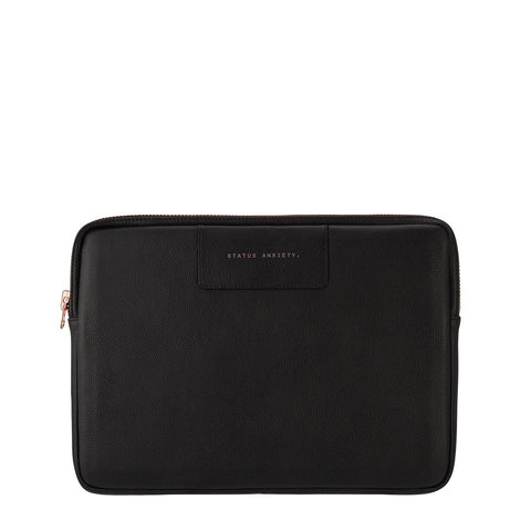 STATUS ANXIETY BEFORE I LEAVE LEATHER LAPTOP CASE BLACK/ROSE GOLD