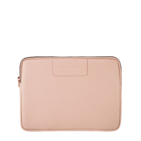 STATUS ANXIETY BEFORE I LEAVE LEATHER LAPTOP CASE DUSTY PINK/ROSE GOLD