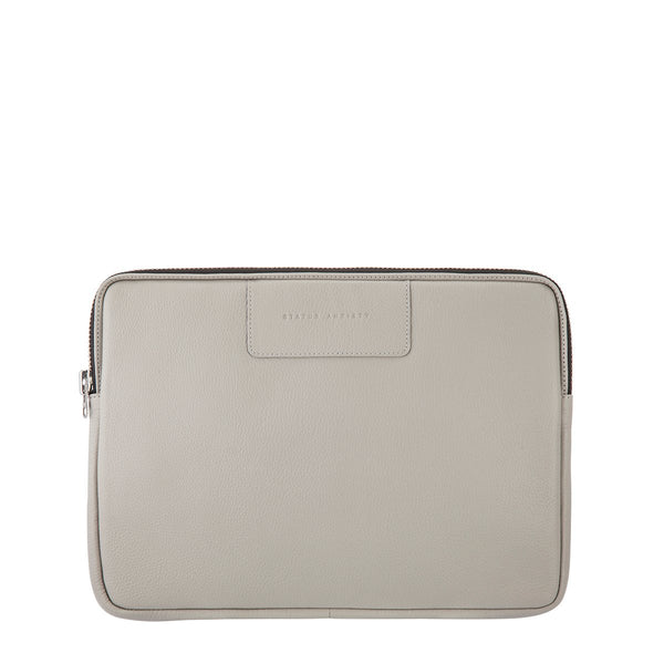 STATUS ANXIETY BEFORE I LEAVE LEATHER LAPTOP CASE LIGHT GREY