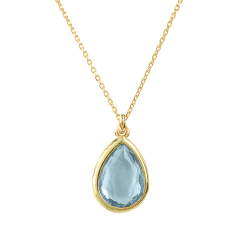 LATELITA LONDON Pisa Mini Teardrop Necklace Gold Blue Topaz