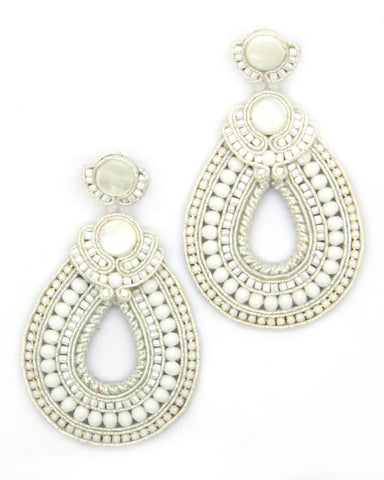 Olga Sergeychuk Hoop teardrop beaded earrings White