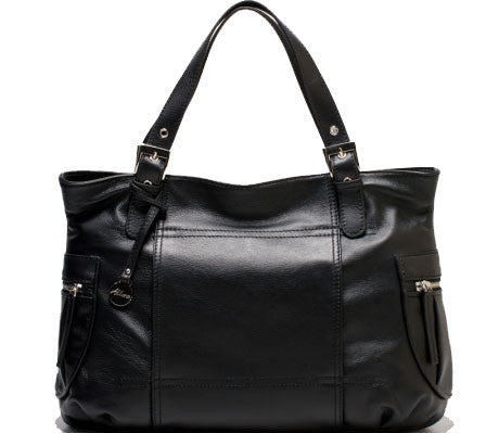 ALLORA Billie Leather Zip Top Tote Black