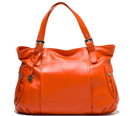 ALLORA Billie Leather Zip Top Tote Orange