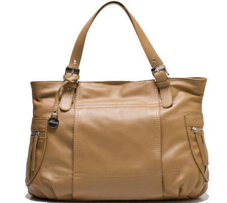 ALLORA Billie Leather Zip Top Tote Taupe