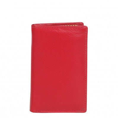 ZOOMLITE Classic Leather Boston Vertical Card Holder Red