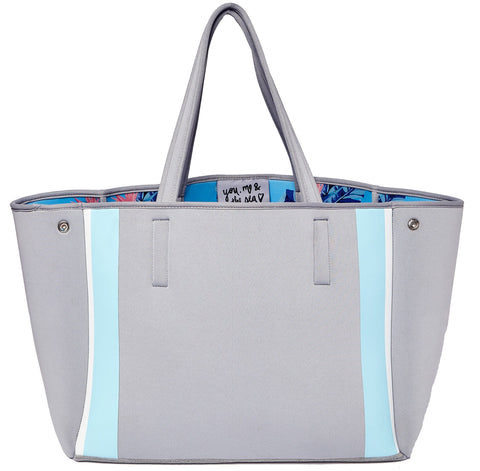 Urban Originals Byron Neoprene Tote Bag Grey Blue Floral