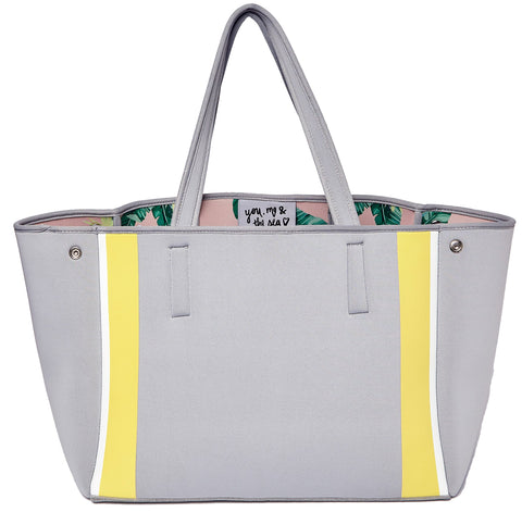 Urban Originals Byron Neoprene Tote Bag Grey Yellow Floral