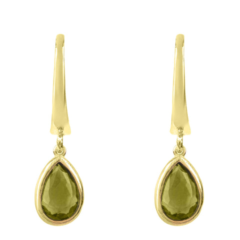 Latelita London Pisa Mini Teardrop Earrings Gold Peridot Green