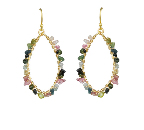 Gena Myint Mixed Tourmaline Earrings gold