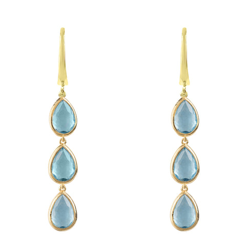 Latelita London Sorrento Triple Drop Earrings Gold Blue Topaz