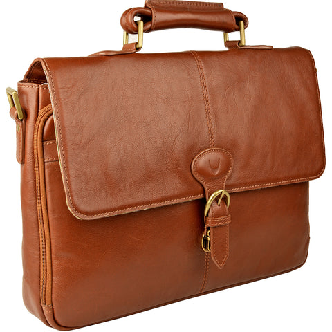 Hidesign Parker Leather Medium Briefcase Tan