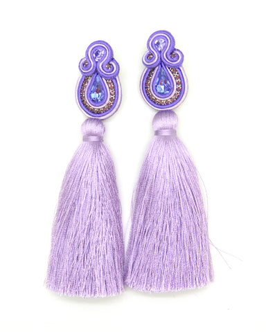 Olga Sergeychuk Long tassel earrings Violet Purple