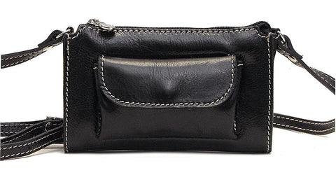 FLOTO Calabria Leather Cross Body Bag Black