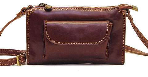 FLOTO Calabria Leather Cross Body Bag Vecchio Brown - SALE