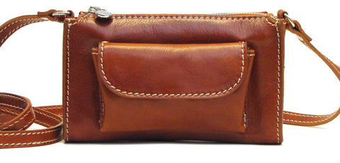 FLOTO Calabria Leather Cross Body Bag Olive Honey Brown
