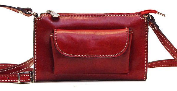 FLOTO Calabria Leather Cross Body Bag Tuscan Red