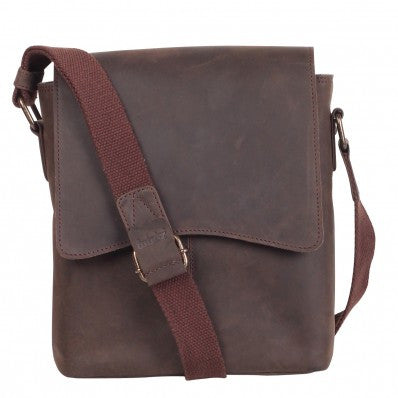 ZOOMLITE Vintage Leather Cambridge Tablet Messenger Brown