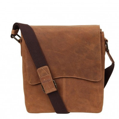 ZOOMLITE Vintage Leather Cambridge Tablet Messenger Camel