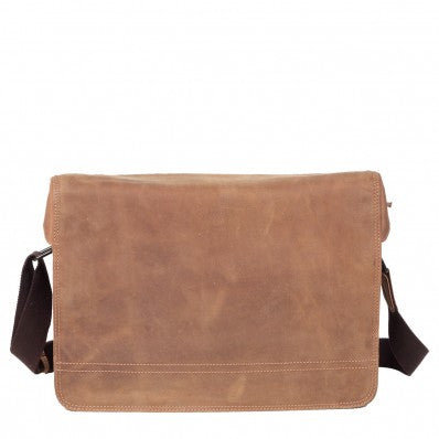 ZOOMLITE Vintage Leather Cambridge Laptop Messenger Bag Camel