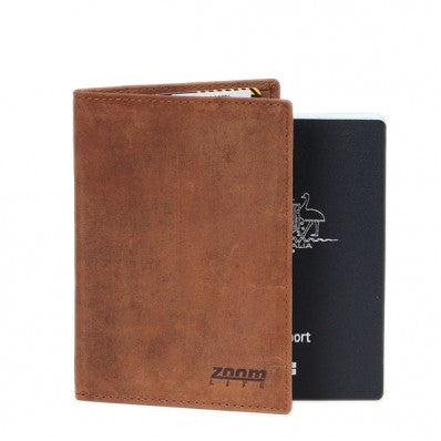 ZOOMLITE Vintage Leather Cambridge RFID Passport Holder Camel