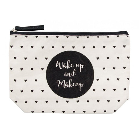 Wake Up & Makeup Canvas Cosmetic Bag
