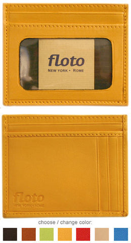FLOTO Firenze Leather Card Case Yellow