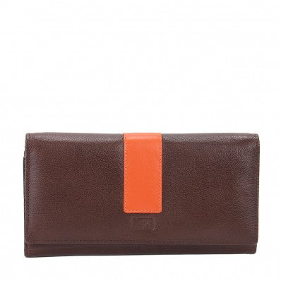 ZOOMLITE Leather RFID Celeste Continental Flap Wallet Chocolate