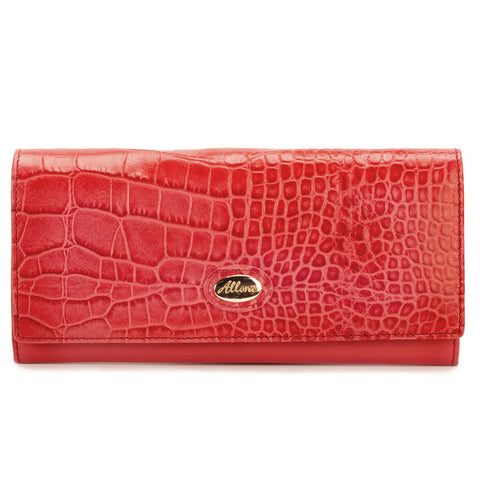 ALLORA Croco Large Slim Leather Wallet Coral Red