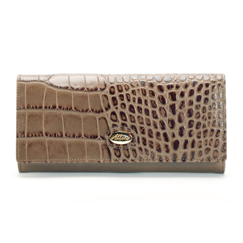 ALLORA Croco Large Slim Leather Wallet Taupe