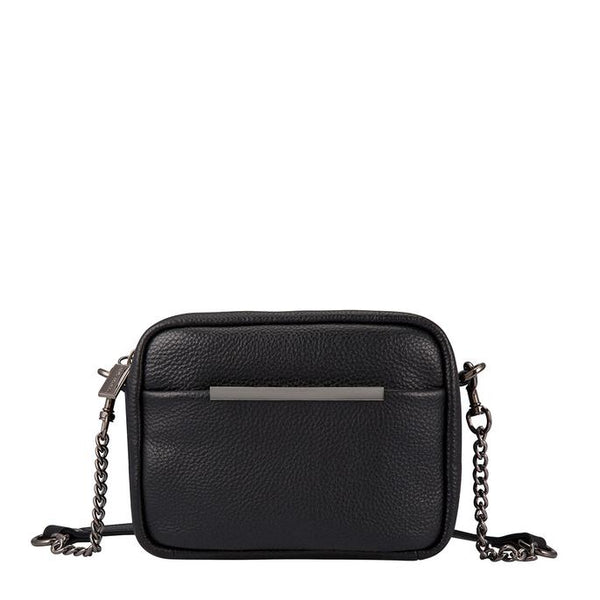 STATUS ANXIETY CULT LEATHER SHOULDER/CROSSBODY BAG BLACK
