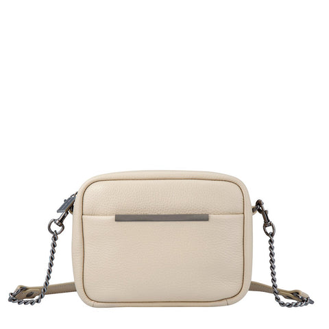 STATUS ANXIETY CULT LEATHER SHOULDER/CROSSBODY BAG NUDE BEIGE