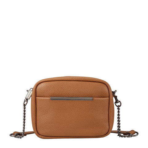 STATUS ANXIETY CULT LEATHER SHOULDER/CROSSBODY BAG TAN
