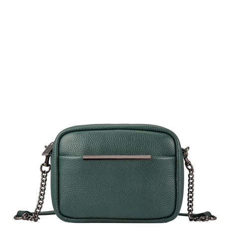 STATUS ANXIETY CULT LEATHER SHOULDER/CROSSBODY BAG GREEN