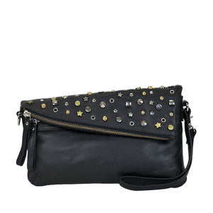 MANZONI Leather Soft Nappa Cross Body Bag  (Style D186) SALE - BLACK