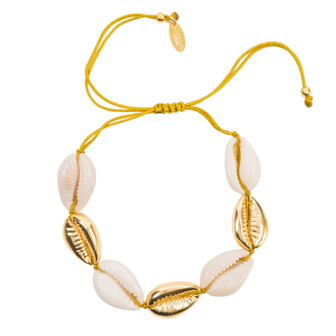 Latelita London Cowrie Multi Shell Macrame Bracelet Gold