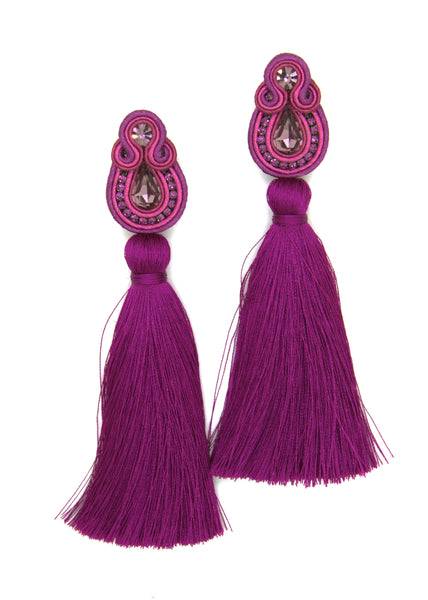 Olga Sergeychuk Long tassel earrings fuchsia pink