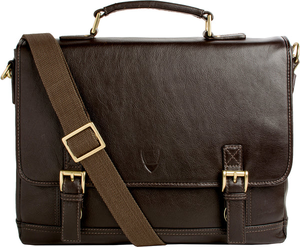 "Hidesign Hunter 15"" Laptop Compatible Leather Briefcase Brown"