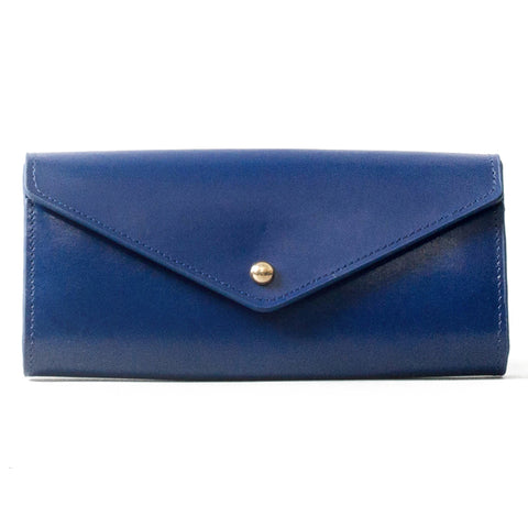 Paperthinks Recycled Leather Envelope Wallet Navy Blue