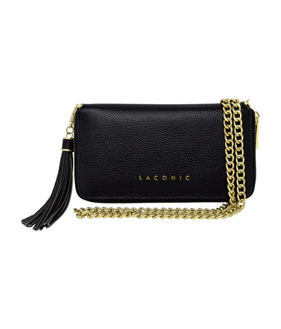 Laconic Style Trouvaille zip Pebbled Leather Smartphone Wristlet & Crossbody Wallet Black