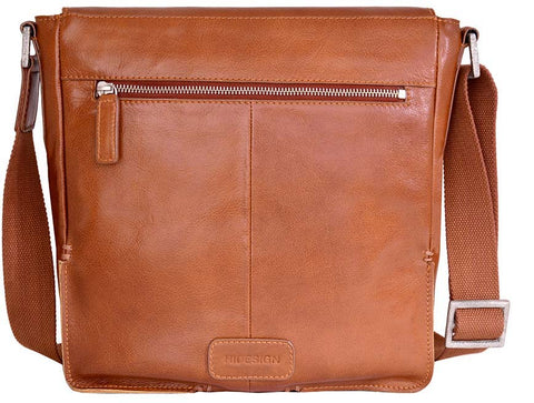 Hidesign Fred Leather Business Laptop Messenger Cross Body Bag Tan