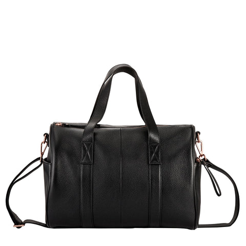 STATUS ANXIETY DEEP END LEATHER BABY BAG/WEEKENDER BLACK/ROSE GOLD