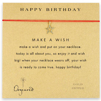 DOGEARED Make A Wish Necklace - Happy Birthday Star Gold