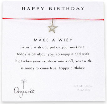 DOGEARED Make A Wish Necklace - Happy Birthday Star Silver