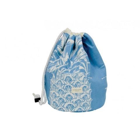 Drawstring Barrel Cosmetic Bag Pineapple Blue