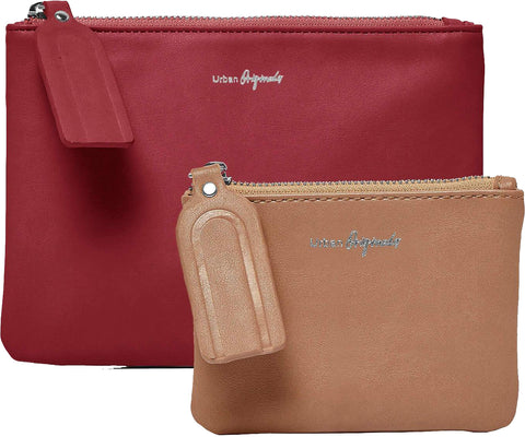 URBAN ORIGINALS Dreamer Pouch Wallet & Coin Purse Cranberry Red & Nude Brown