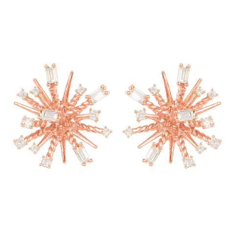 Latelita London Cosmic Bang Baguette CZ Stud Earring Rose Gold