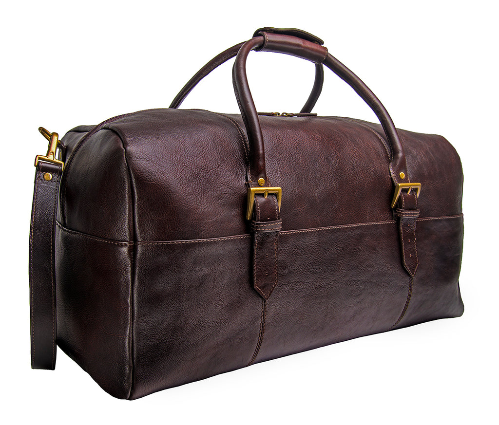3573d4279e46 Hidesign Charles Leather Cabin Travel Duffle Weekend Bag Brown